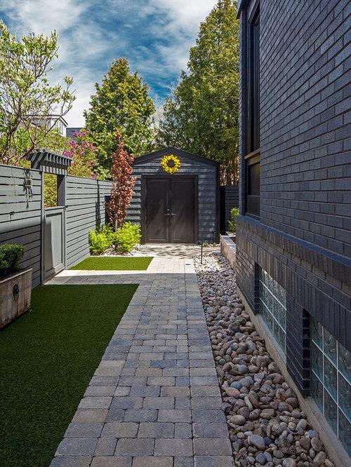 side yard landscape ideas designs remodels photos. Black Bedroom Furniture Sets. Home Design Ideas