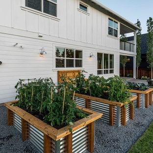 Diseño de jardín campestre con jardín de macetas