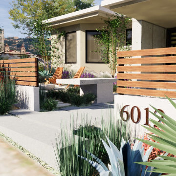 3d rendering for a landscape design project in Claremont, CA. - Modern look for