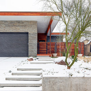 Photo of a modern full sun front yard landscaping in Dallas for winter.