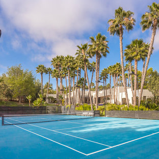 Photo of a huge contemporary partial sun backyard outdoor sport court in San Diego.