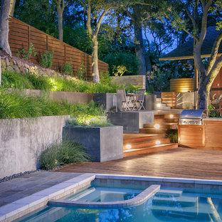 Idee per un grande giardino formale minimal esposto a mezz'ombra dietro casa in estate con fontane