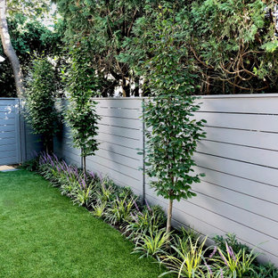 Inspiration for a small contemporary privacy and full sun backyard landscaping in New York.