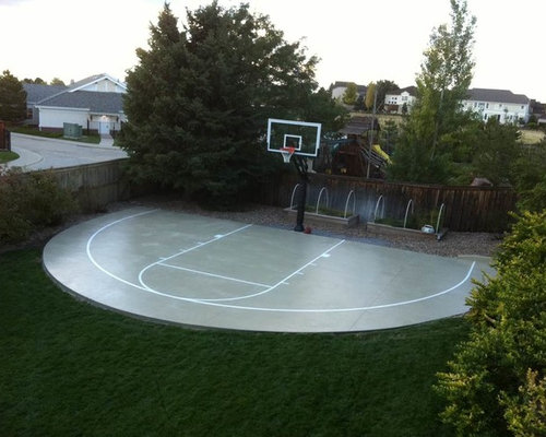 Driveway basketball hoop houzz for How much to build a backyard basketball court