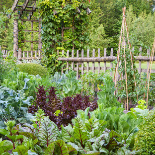 This is an example of a traditional full sun backyard vegetable garden landscape in Chicago for summer.