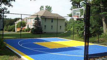 Andover Backyard Basketball Court with rebounder