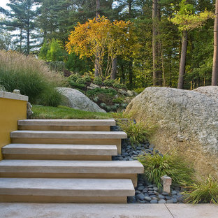 Inspiration for a large contemporary rock backyard landscaping in Boston for fall.