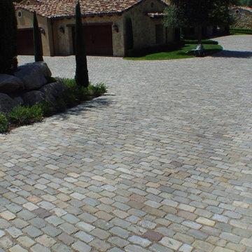 Antique Sandstone Cobblestone Driveway, Rancho Santa Fe CA