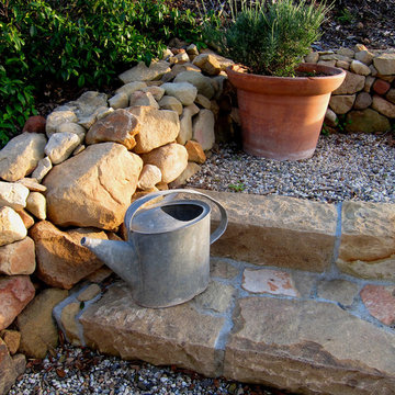 Antique Watering Can on Hand Hewn Stone Steps