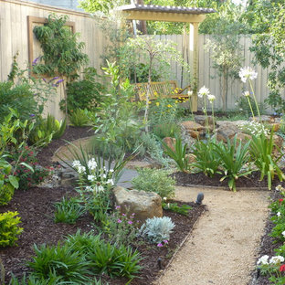 Photo of a mid-sized traditional backyard decomposed granite garden path in Houston for summer.