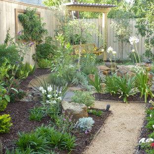 Idée de décoration pour un jardin arrière tradition de taille moyenne et l'été avec un gravier de granite et une entrée ou une allée de jardin.