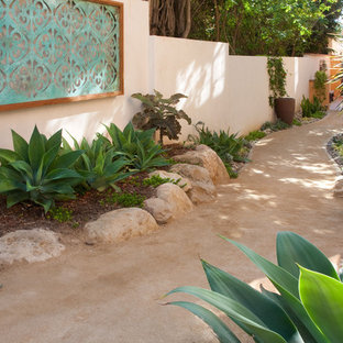 Design ideas for a mediterranean backyard landscaping in Santa Barbara.