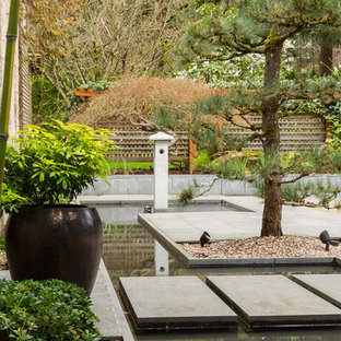 This is an example of an asian partial sun concrete paver water fountain landscape in Portland.