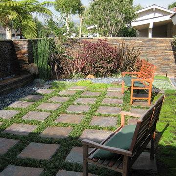 Asian Garden - Courtyard with Wall of Water Fountain