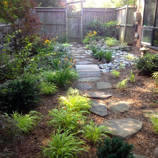 Design ideas for a mid-sized asian shade side yard stone landscaping in DC Metro.