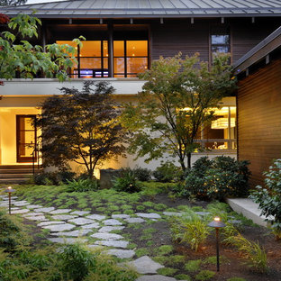 Inspiration for an asian shade front yard stone landscaping in Vancouver.