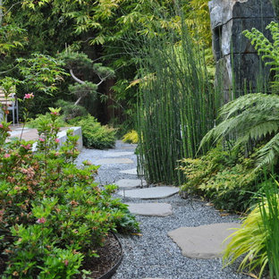 This is an example of an asian shade backyard stone landscaping in San Francisco.