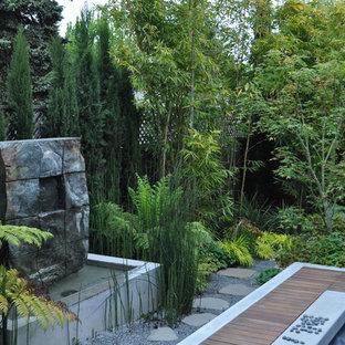 Schattiger Asiatischer Garten hinter dem Haus mit Wasserspiel und Dielen in San Francisco