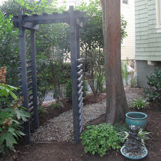 Asian Landscape Asian Zen Arbor (made with recycled materials) and river rock path