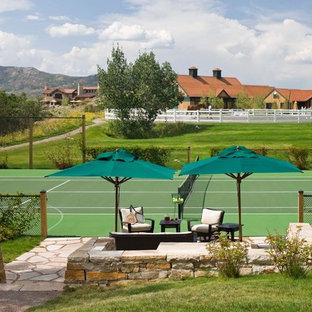 Large mediterranean backyard full sun outdoor sport court in Denver for spring.