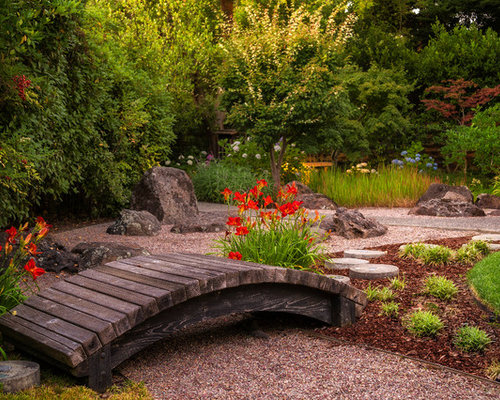 Dry creek bed japanese garden bridge home design ideas for Dry landscape design