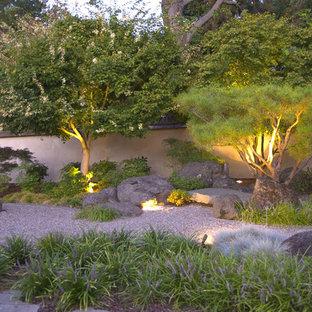 Design ideas for an asian backyard gravel landscaping in San Francisco.