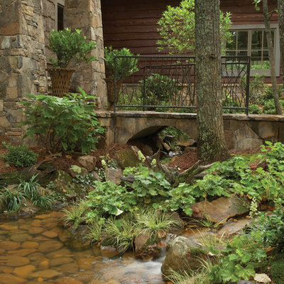 Inspiration for a traditional water fountain landscape in Atlanta.