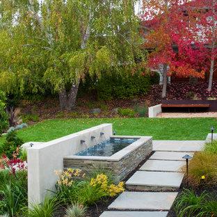 サンフランシスコのコンテンポラリースタイルのおしゃれな噴水のある庭の写真