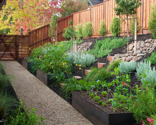 sloped vegetable garden houzz