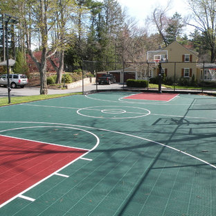 Design ideas for a large traditional partial sun backyard concrete paver outdoor sport court in Boston.