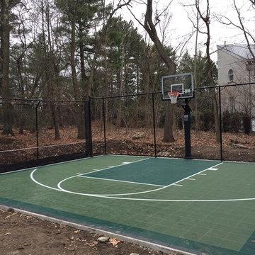 Backyard Basketball Court in Brookline