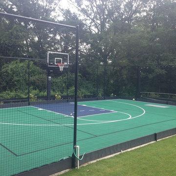 Backyard Basketball Court in Wellesley