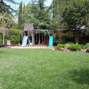 Design ideas for a mid-sized traditional partial sun backyard outdoor playset in San Francisco.