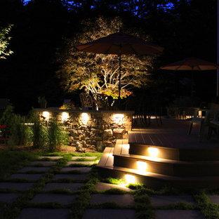 Свежая идея для дизайна: большой участок и сад на заднем дворе в классическом стиле с полуденной тенью - отличное фото интерьера