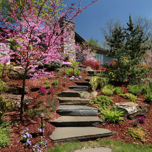 Inspiration for a mid-sized traditional full sun backyard stone landscaping in Grand Rapids.