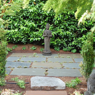 Design ideas for an asian shade backyard stone landscaping in Seattle.