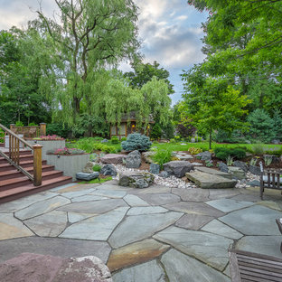 This is an example of a large asian partial sun backyard stone landscaping in Milwaukee.