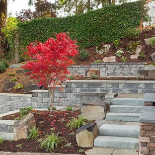Design ideas for a large traditional partial sun front yard mulch landscaping in Seattle.
