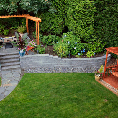 Design ideas for a traditional backyard stone landscaping in Seattle.