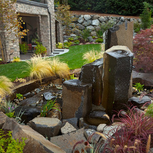Design ideas for a large contemporary full sun backyard water fountain landscape in Seattle.