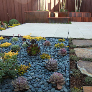 Design ideas for a mid-sized modern drought-tolerant and partial sun backyard concrete paver landscaping in San Francisco.