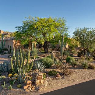 Design ideas for a large southwestern drought-tolerant front yard brick garden path in Phoenix.