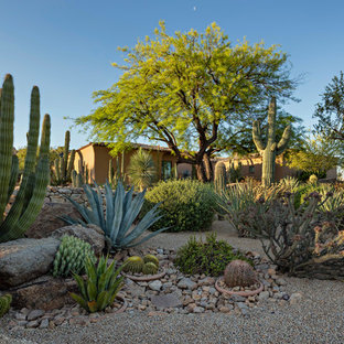 This is an example of a large southwestern drought-tolerant front yard gravel landscaping in Phoenix.