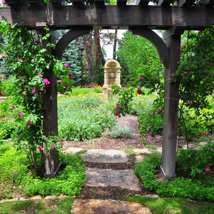 This is an example of a traditional backyard stone landscaping in Denver.