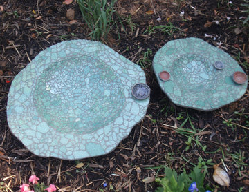 Bird baths made from recycled auto glass