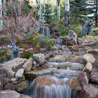 Design ideas for a huge rustic partial sun front yard stone waterfall in Denver for summer.