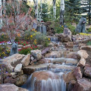 Cette image montre un très grand jardin avant chalet l'été avec une exposition partiellement ombragée, des pavés en pierre naturelle et une cascade.
