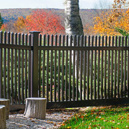 Black PVC VInyl Picket Fence from Illusions Vinyl Fence - Terrific Black PVC vinyl picket fence from the Grand Illusions Color Spectrum line by Illusions Vinyl Fence. The American Dream fence just got cooler! A terrific backyard idea. The fence that looks great all year round. Just look at how it's offset by the Fall leaf colors.