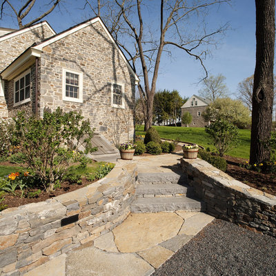 Photo of a traditional hillside stone landscaping in Philadelphia for spring.
