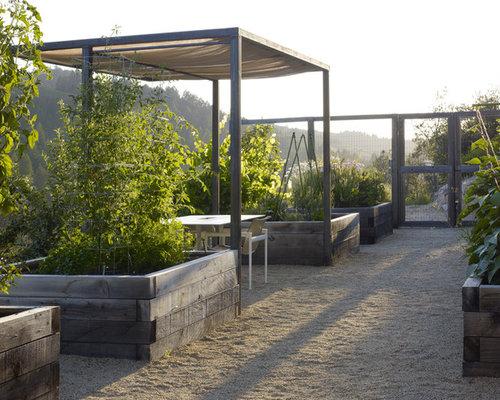 Raised vegetable garden ideas - Rustic Backyard Landscape In San Francisco With A Vegetable Garden